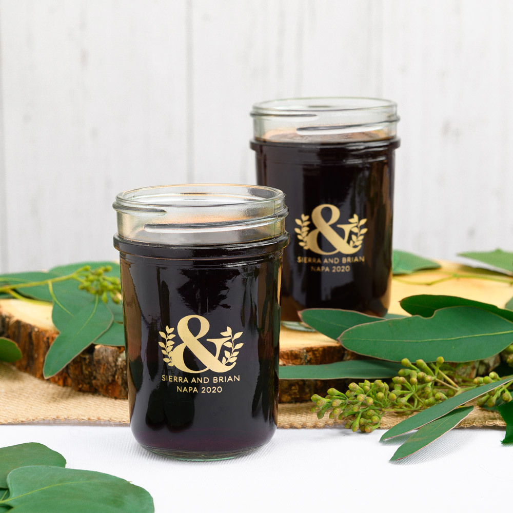Personalized Eco Ampersand Printed Glass Mason Jar