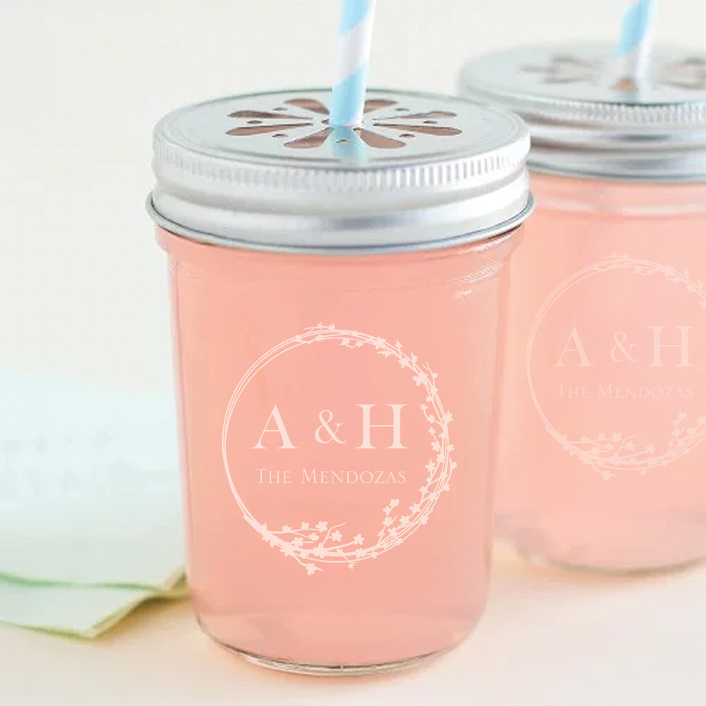 Personalized Cherry Blossom Printed Glass Mason Jar
