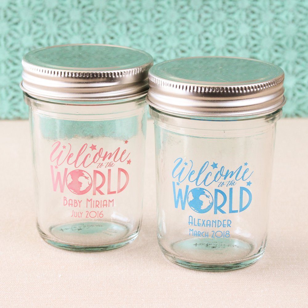 Personalized Welcome to the World Printed Glass Mason Jars