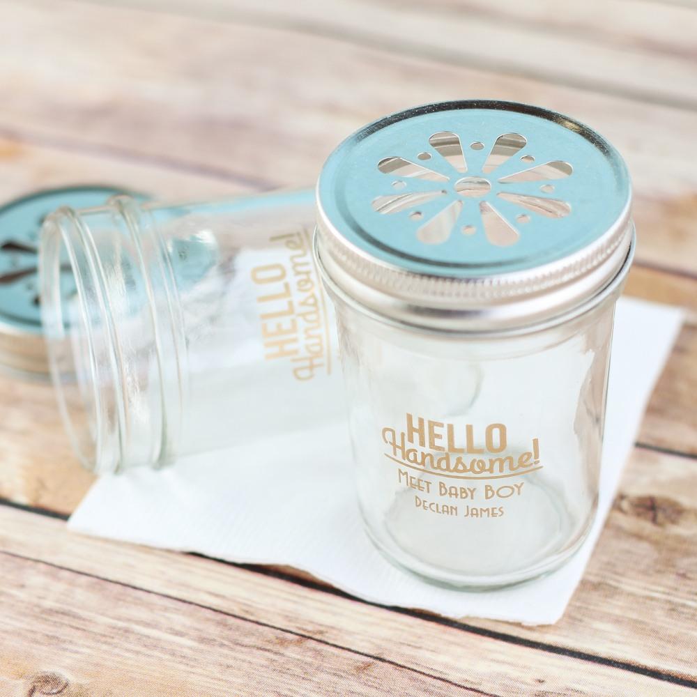 Personalized Hello Handsome Mason Jar
