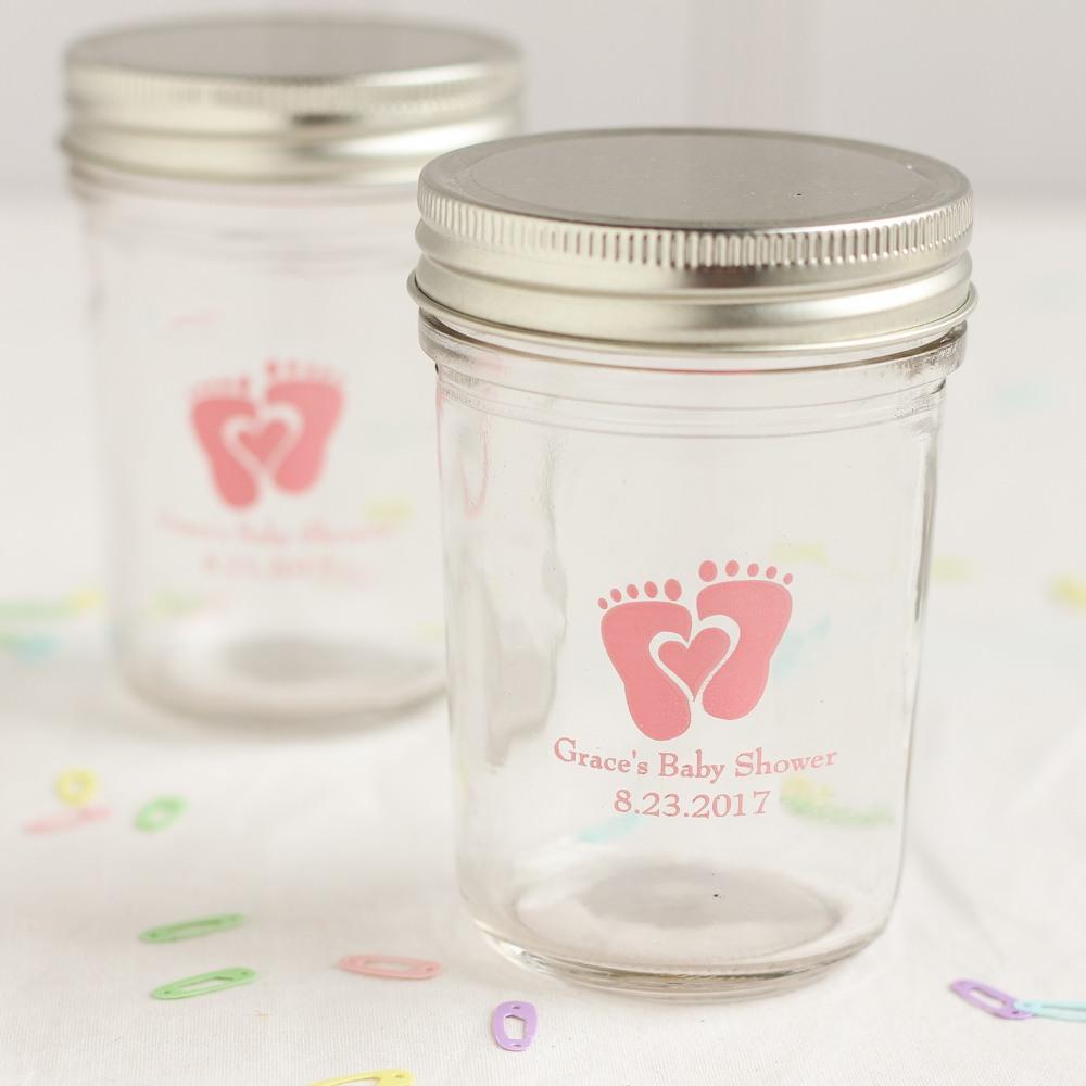 Personalized Baby Feet Printed Mason Jars