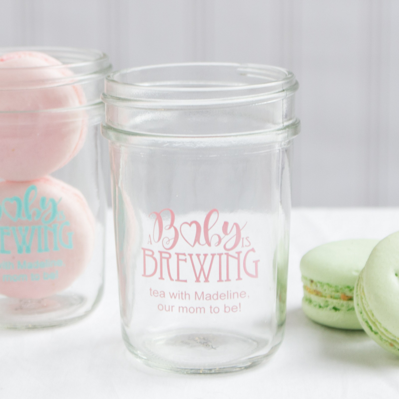 Personalized Baby is Brewing Printed Glass Mason Jar