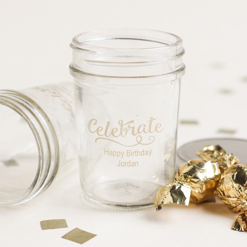 Personalized Celebrate Birthday Printed Glass Mason Jars