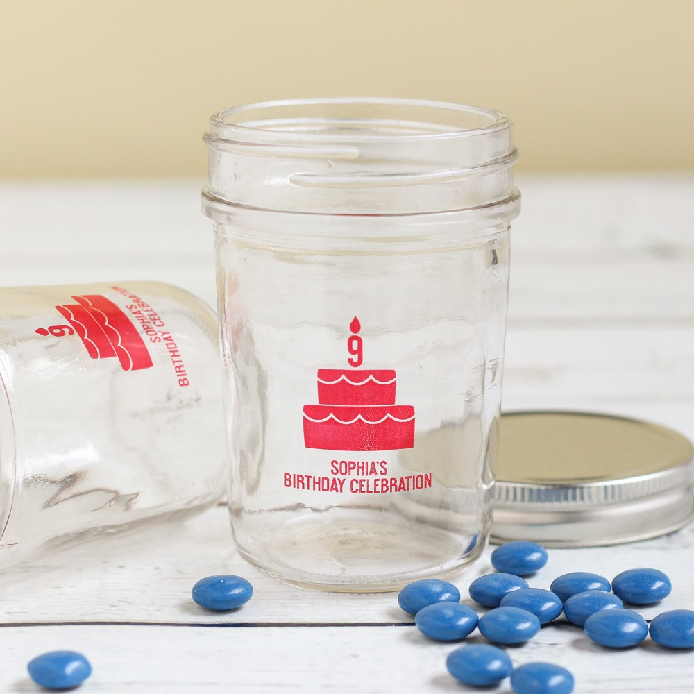 Personalized Birthday Cake Printed Mason Jar