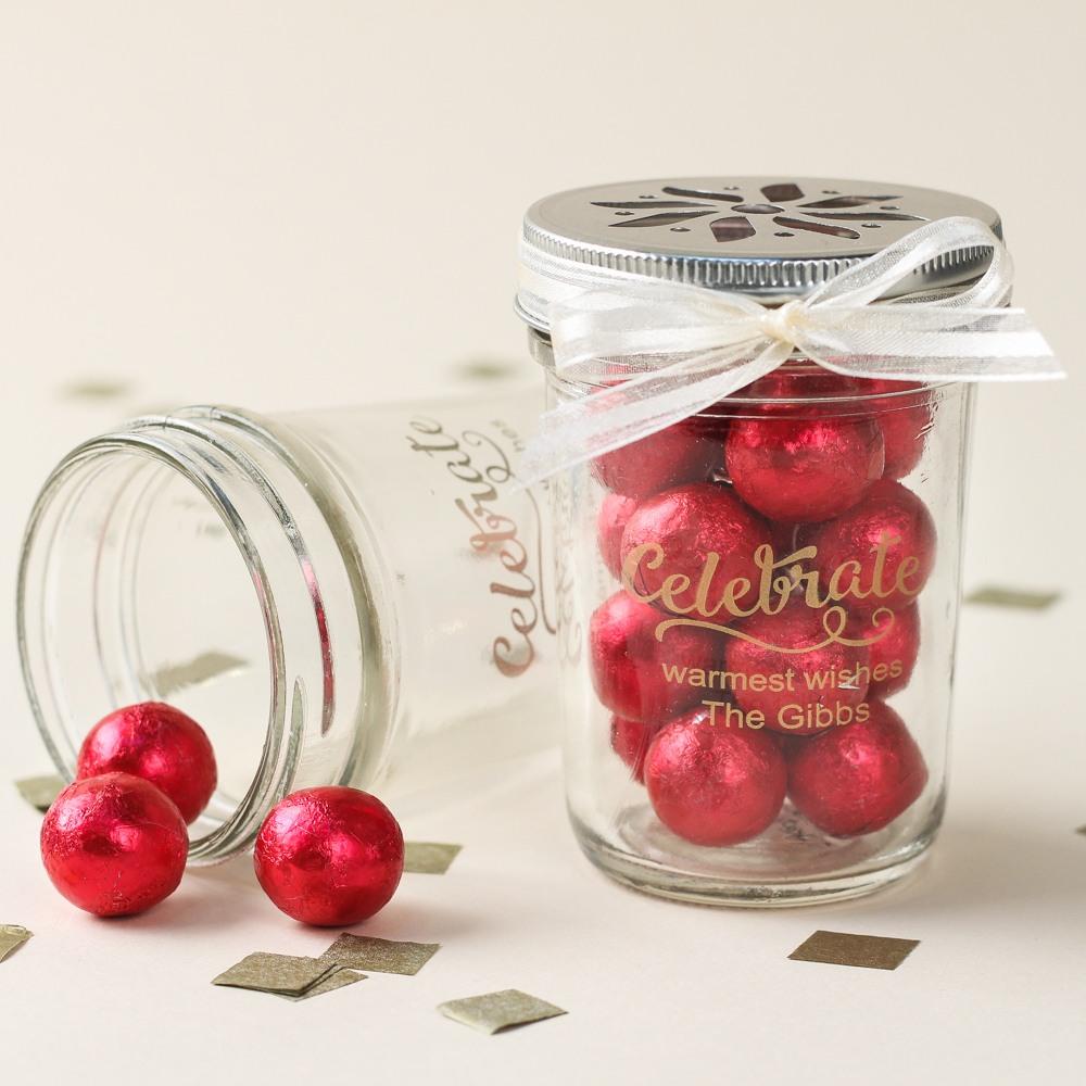 Personalized Holiday Printed Glass Mason Jar 7381