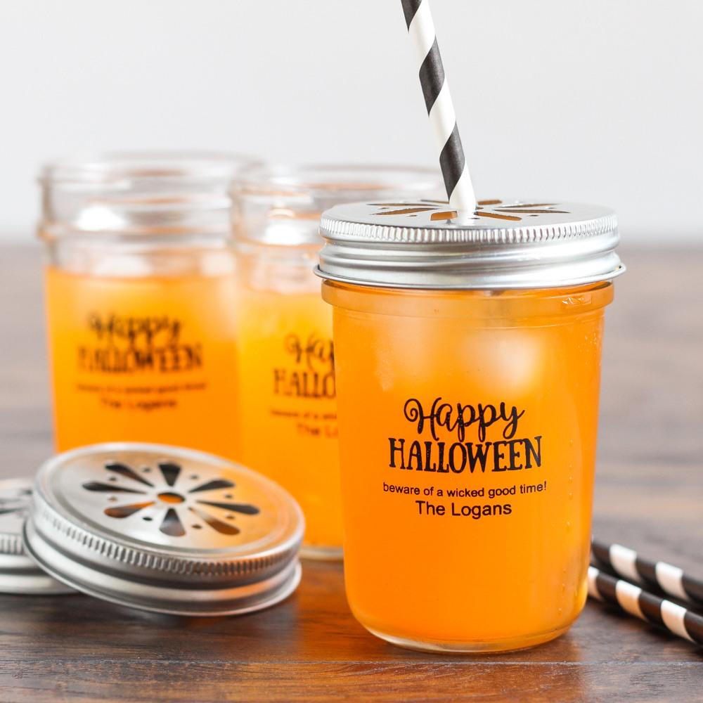 Personalized Holiday Printed Glass Mason Jar