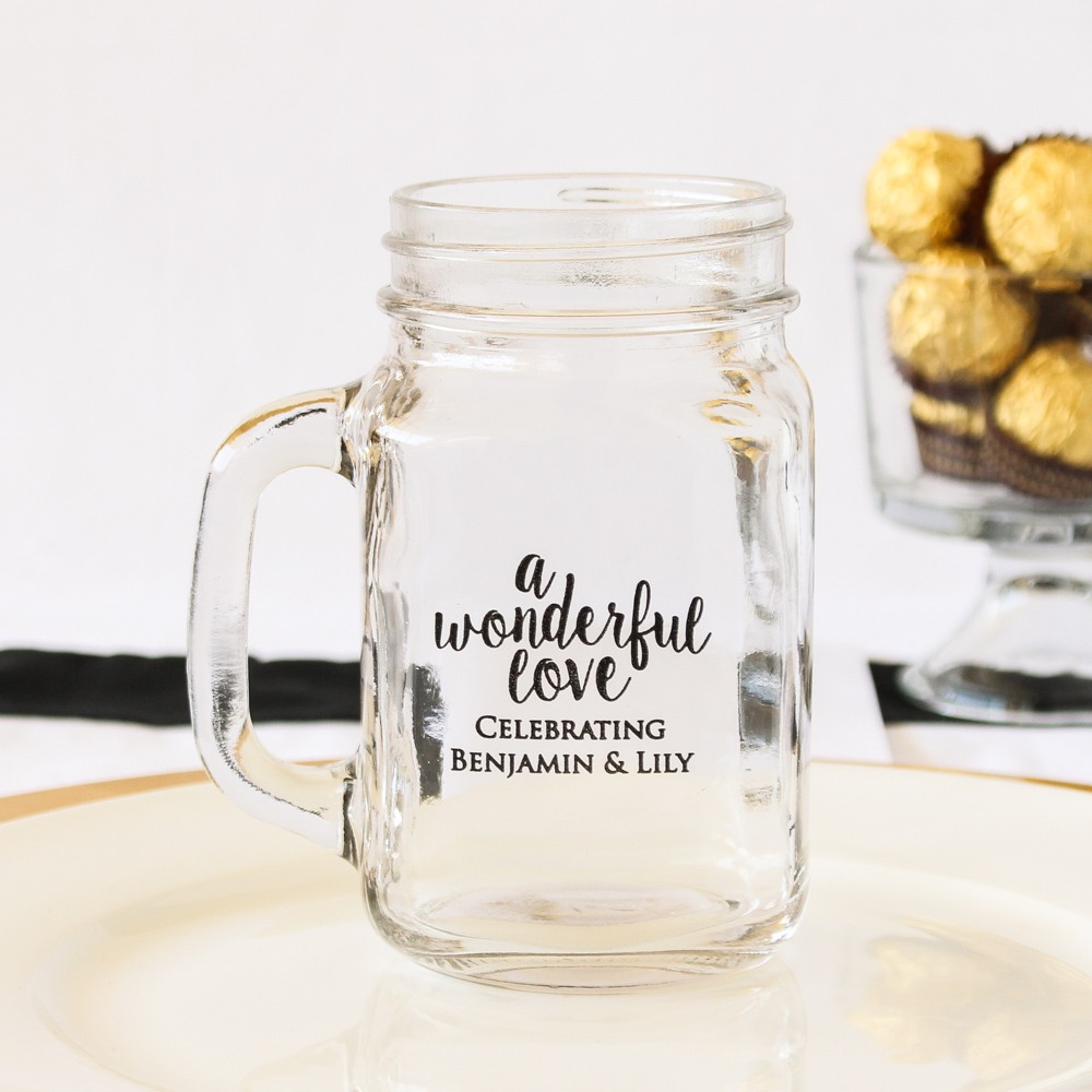 Personalized Wonderful Love Mason Jar Mug