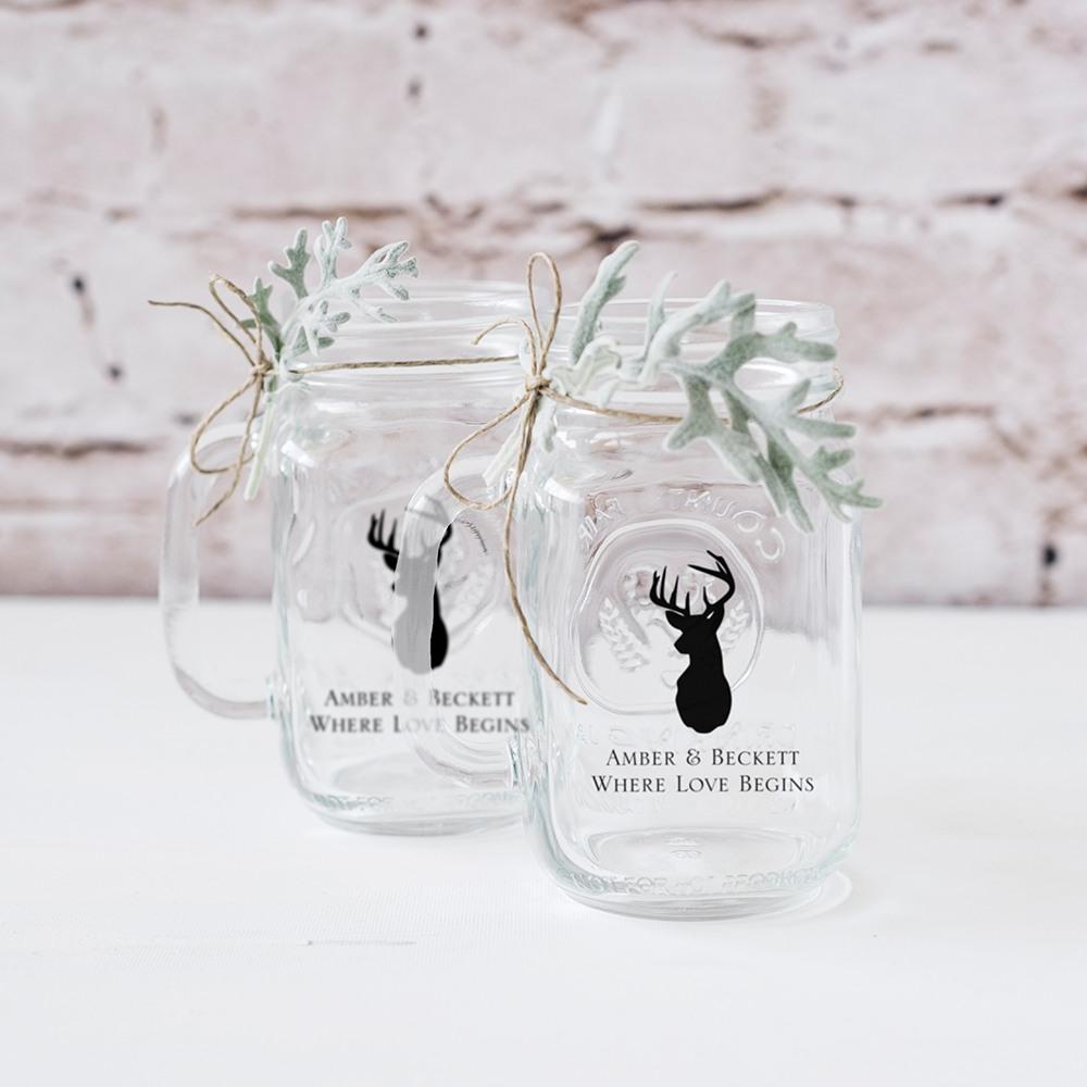 Personalized Woodland Mason Jar Mug