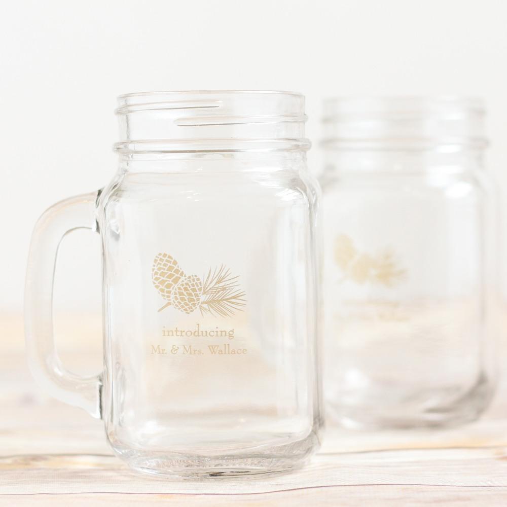 Personalized Pinecone Printed Mason Jar Mug