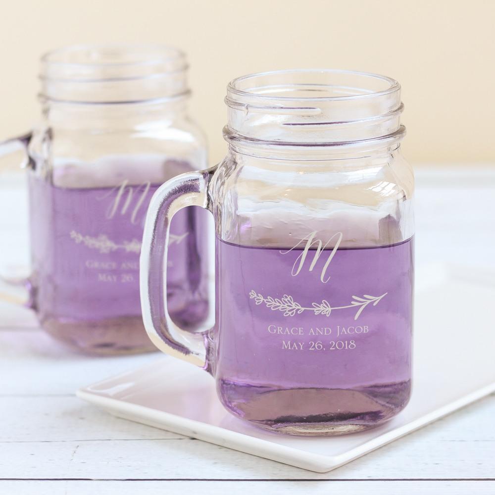 Personalized Lavender Sprig Mason Jar Mug
