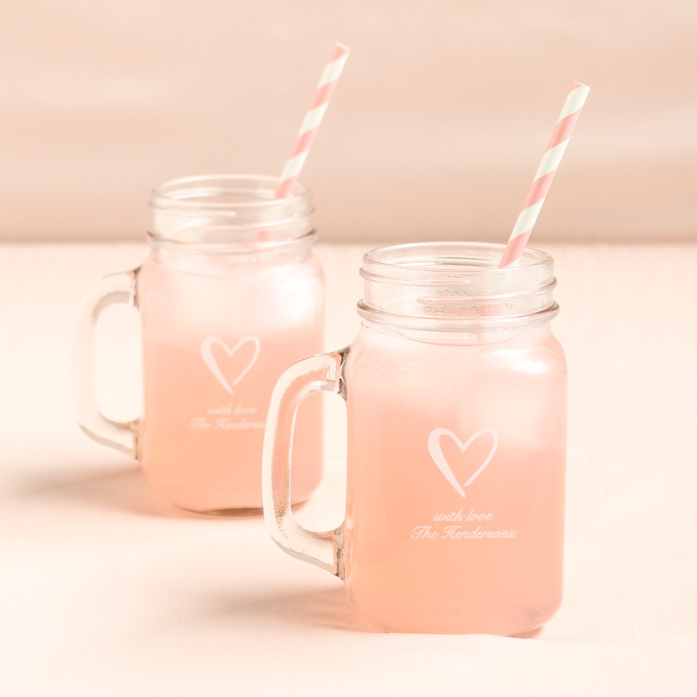 Personalized Heart Printed Mason Jar Mug