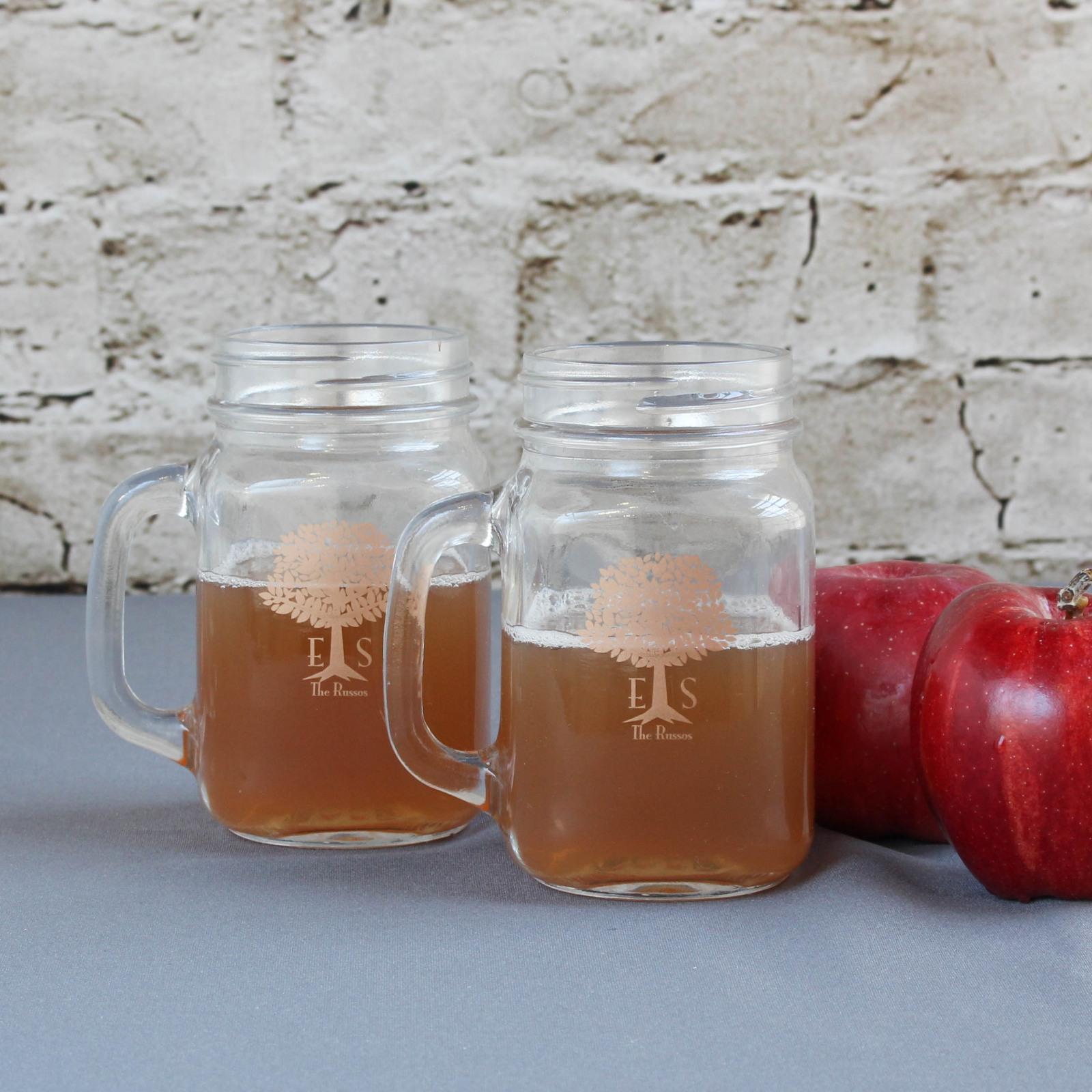Personalized Wedding Tree Printed Mason Jar Mug