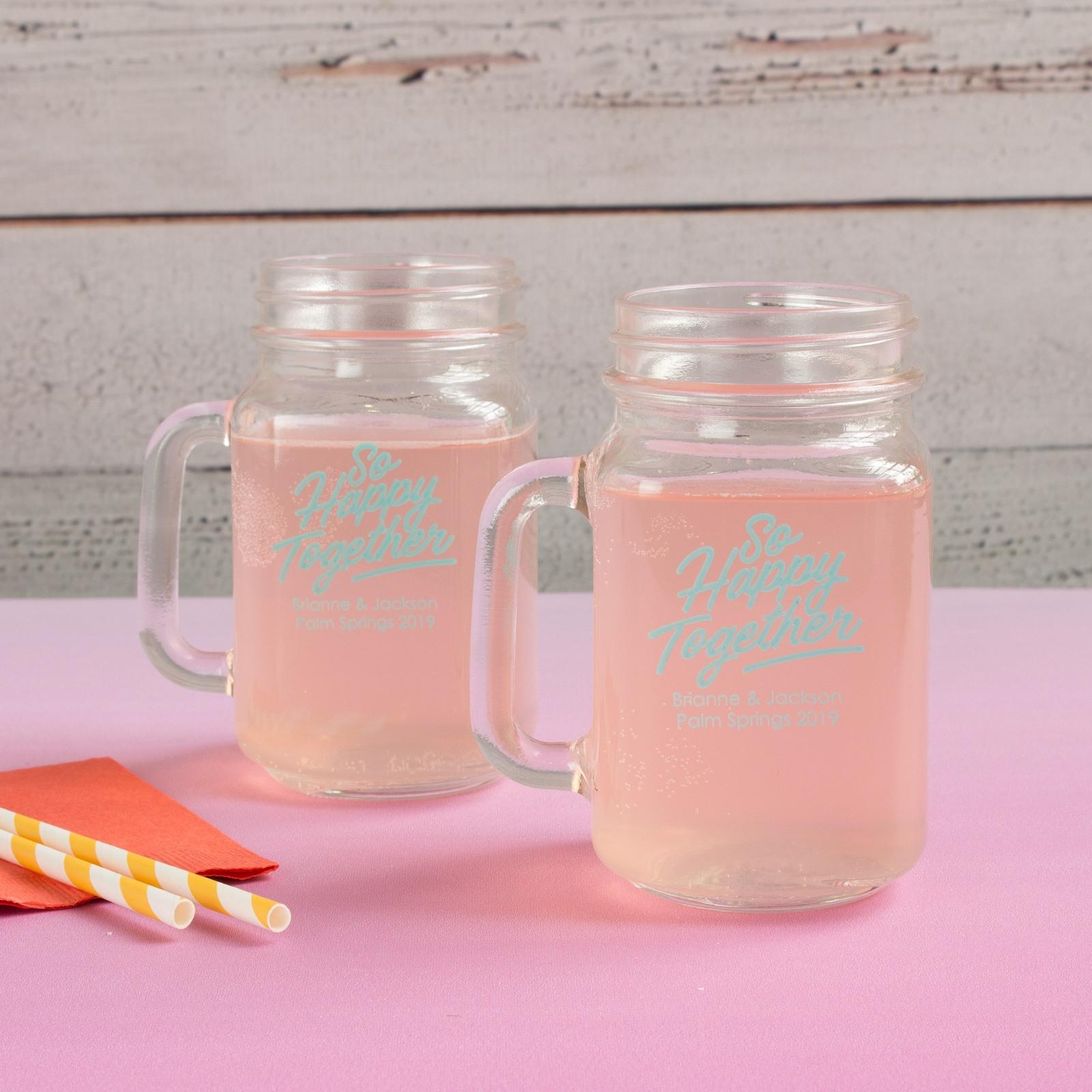 Personalized Happy Together Mason Jar Mugs