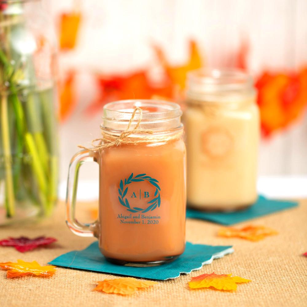 Personalized Fall Harvest Printed Mason Jar Mug