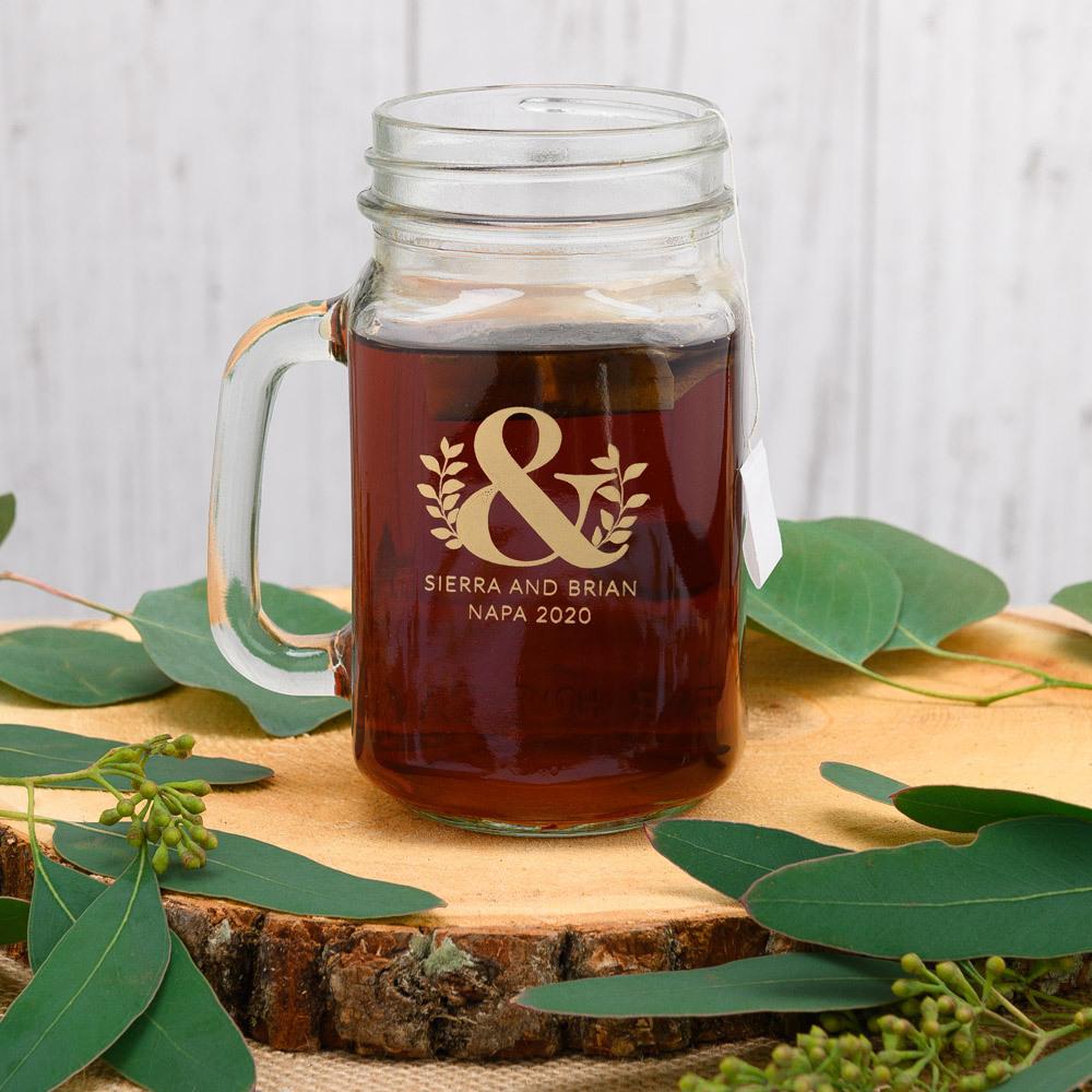 Personalized Eco Ampersand Printed Mason Jar Mug