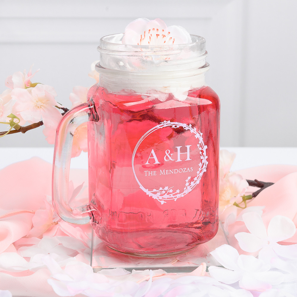 Personalized Cherry Blossom Printed Mason Jar Mug