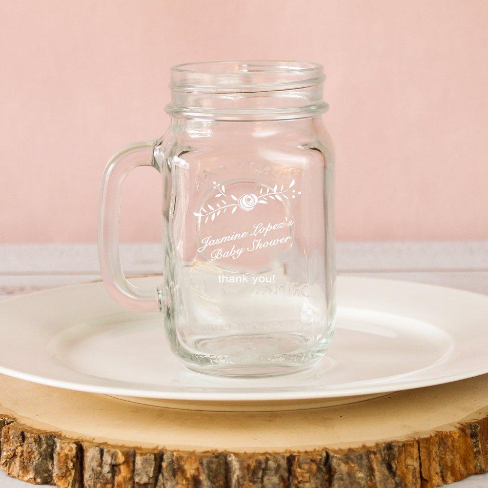 Personalized Baby Shower Printed Rustic Mason Jar Mug