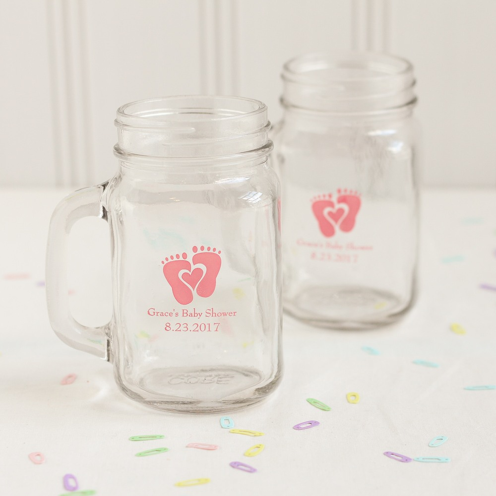 Personalized Baby Feet Printed Mason Jar Mug