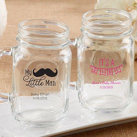 Personalized Baby Printed Mason Jar Mugs