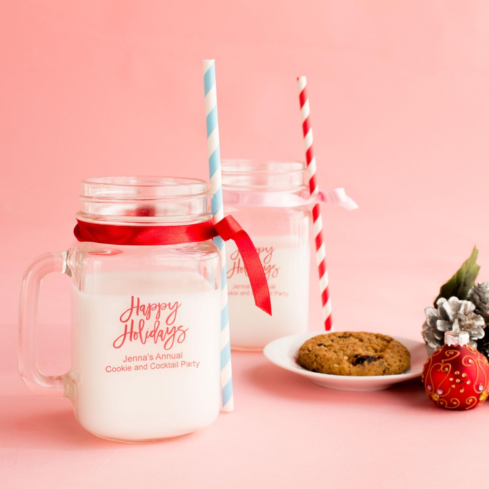 Personalized Christmas Printed Mason Jar Mug