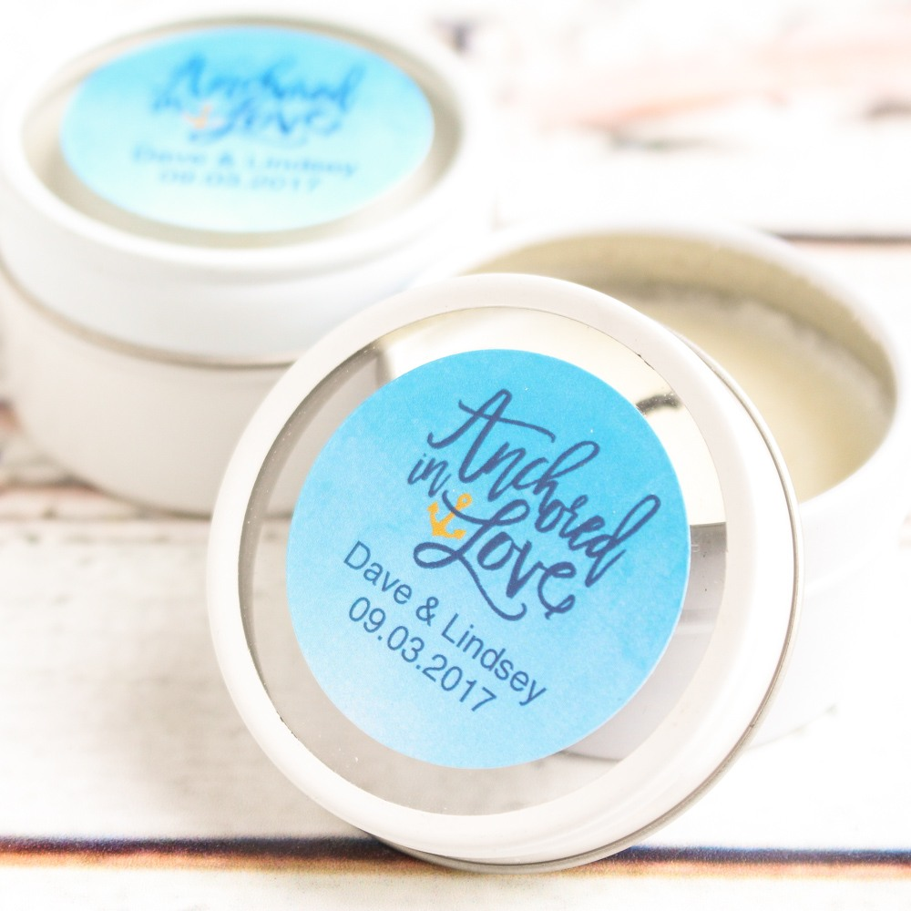 Personalized Wedding Themed Round Candle Tin