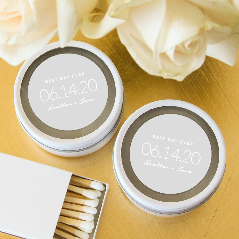Personalized Wedding Date Themed Round Candle Tin