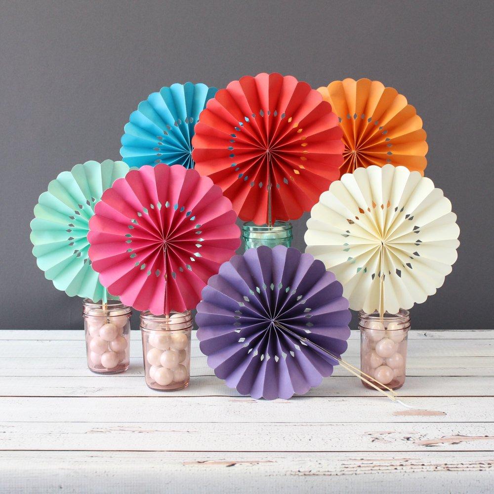Assorted Pinwheel Paper Hand Fans