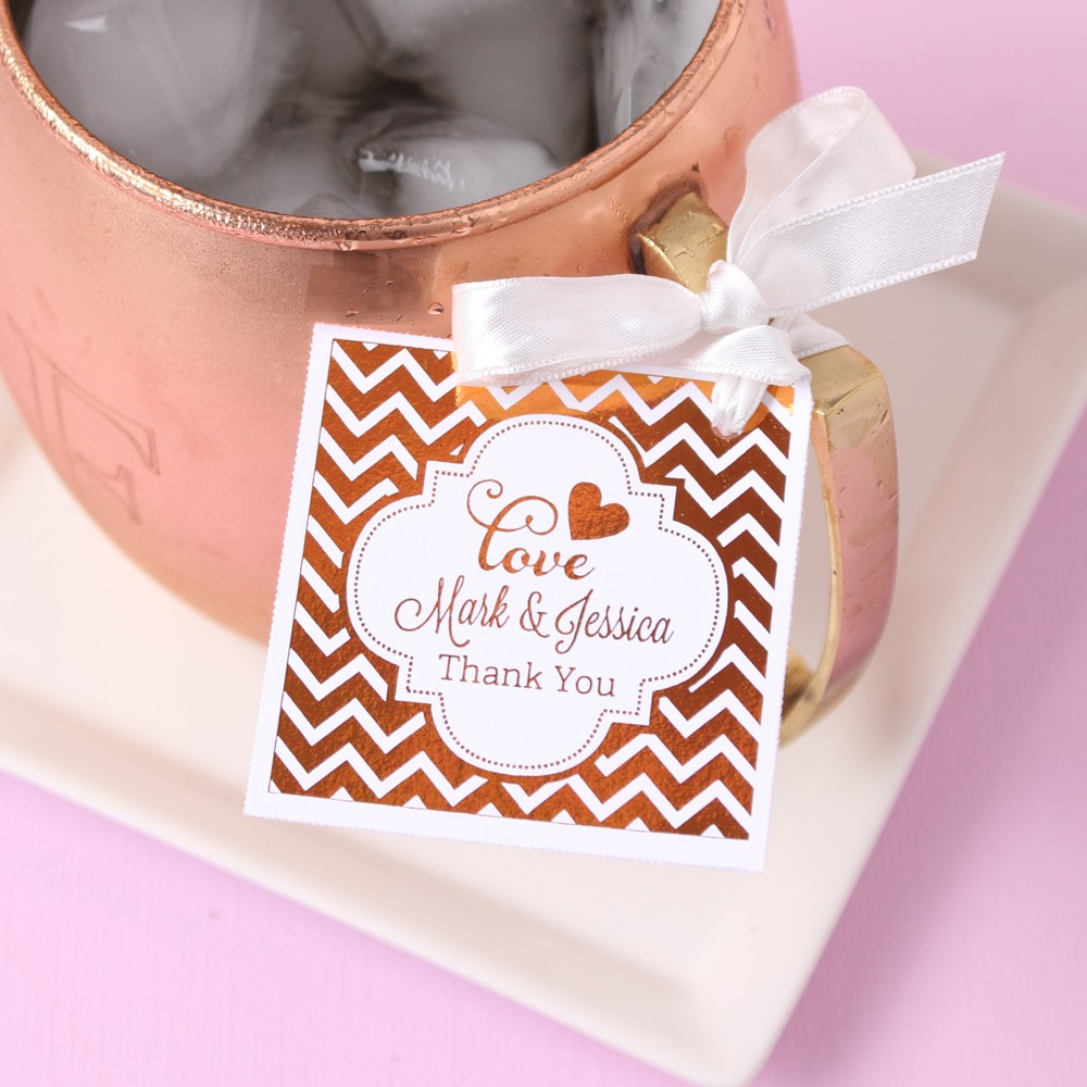 Personalized Wedding Metallic Foil Favor Tags\