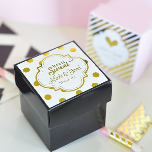 Personalized Metallic Foil Labels on Boxes