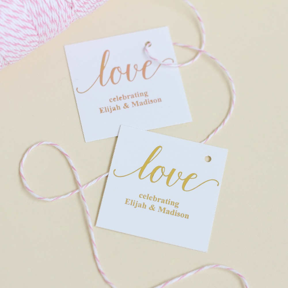 Personalized Love Script Metallic Foil Square Favor Tags and Labels