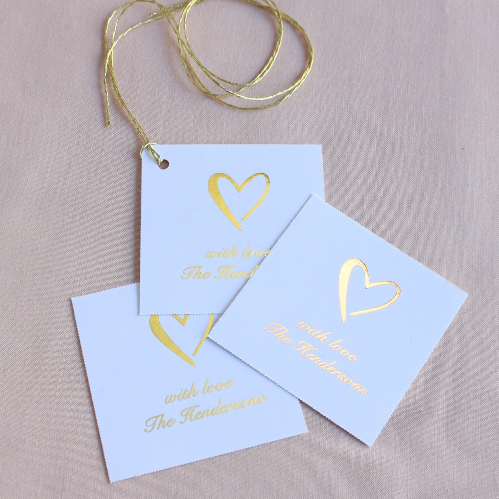 Personalized Heart Metallic Foil Square Tags