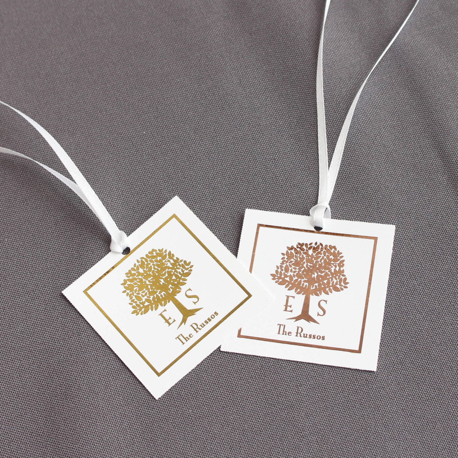 Personalized Wedding Tree  Metallic Foil Square Favor Tags and Labels