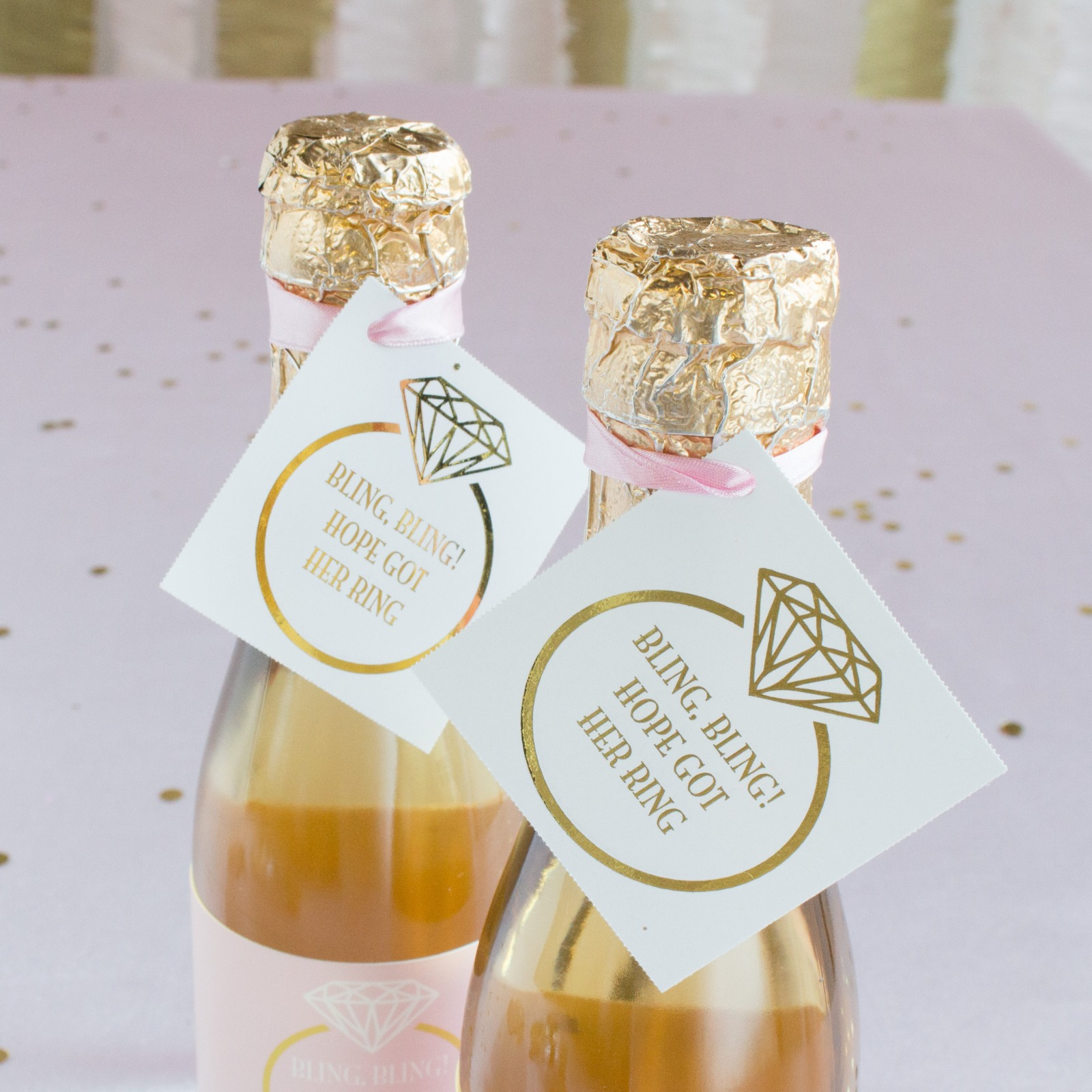 Personalized Ring Metallic Foil Square Favor Tags and Labels
