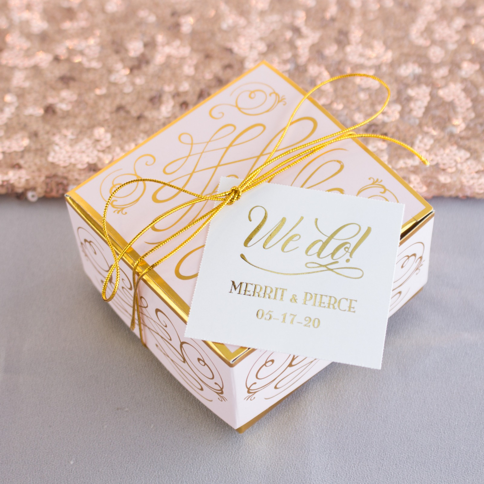 Personalized Metallic Foil Square Favor Tags And Labels 7480
