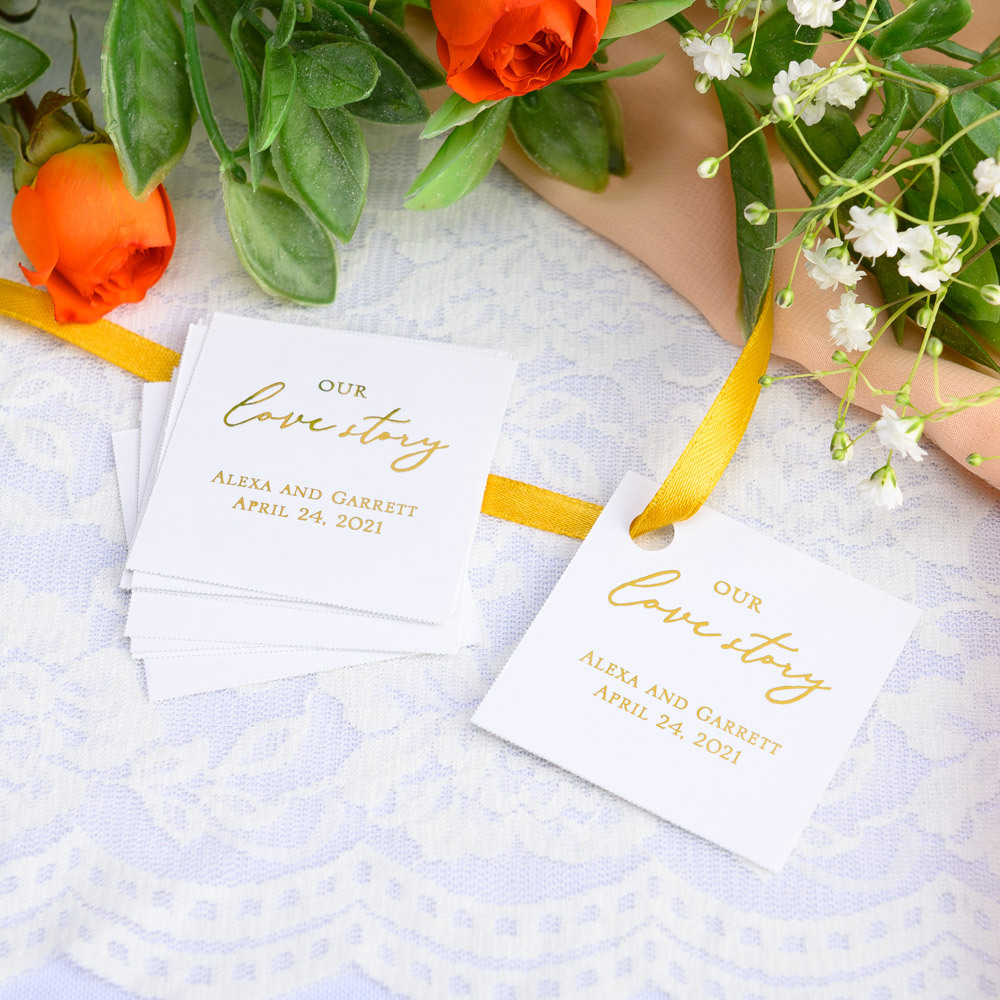 Personalized Our Love Story Metallic Foil Square Favor Tags and Labels