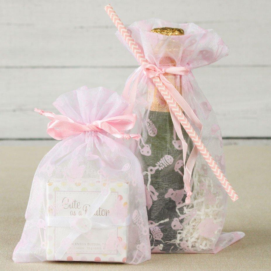 Pink Baby Shower Print Organza Bags