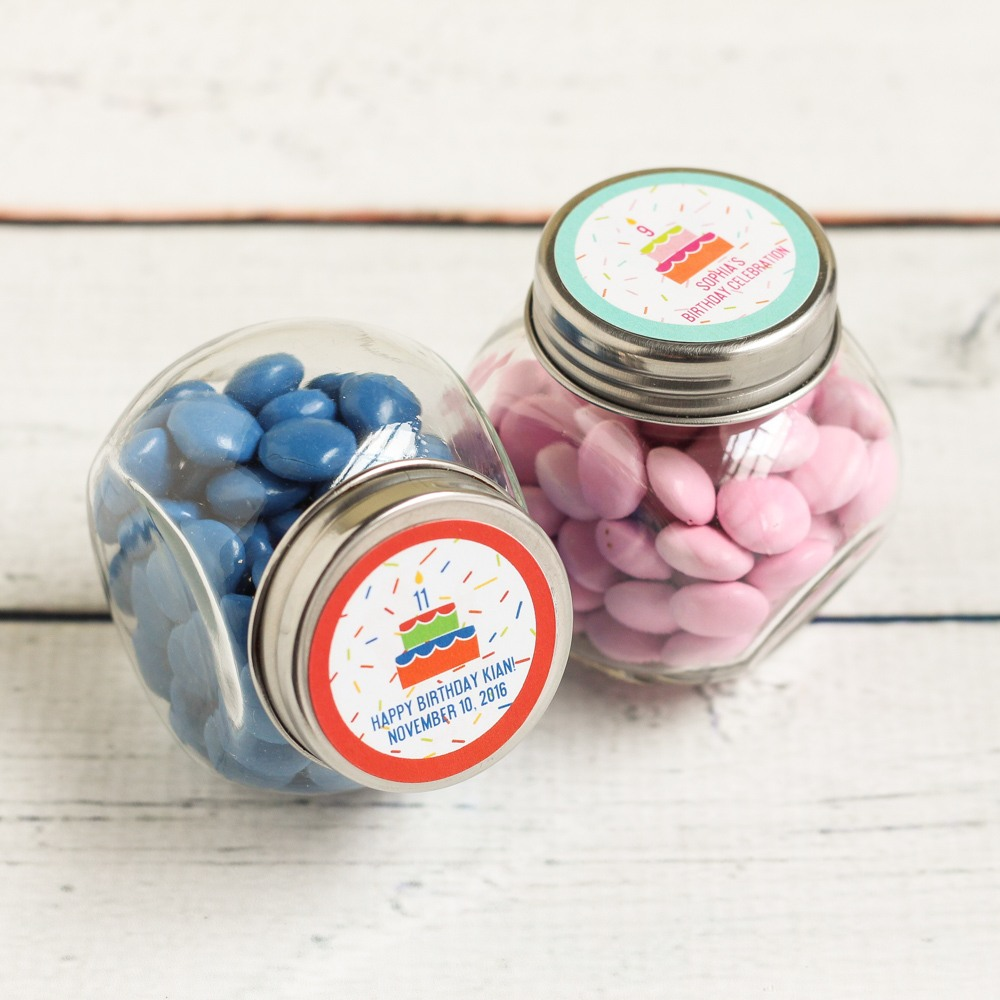 Personalized Birthday Cake Candy Jars