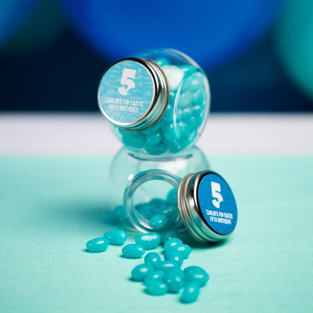 Personalized Shark Bite Milestone Birthday Candy Jars
