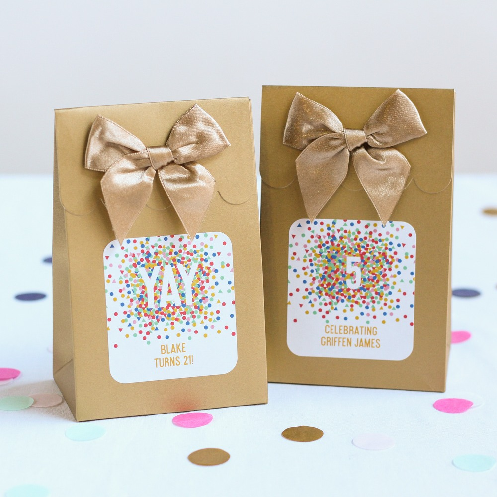 Personalized Confetti Birthday Candy Bags