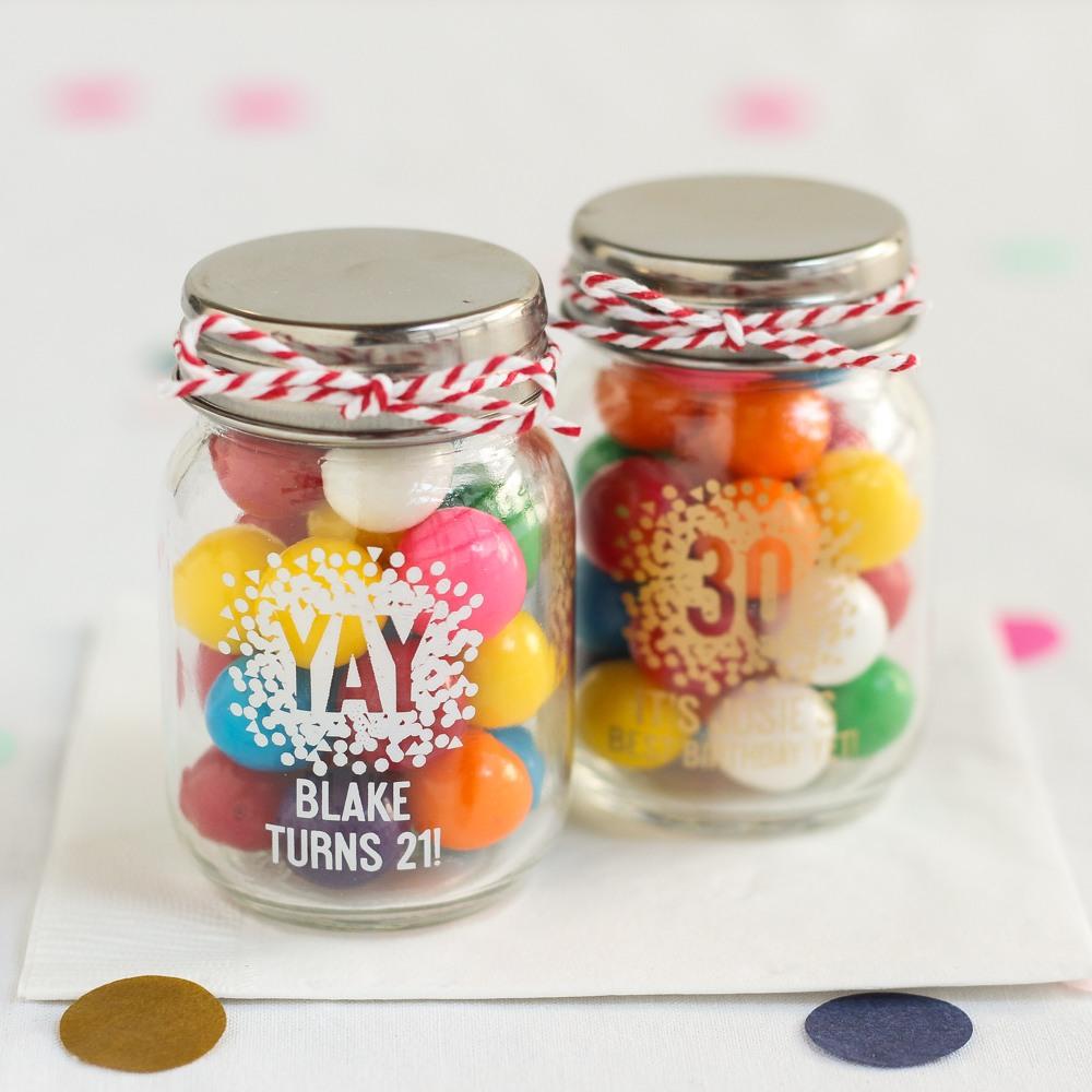 Personalized Confetti Birthday Mason Jar