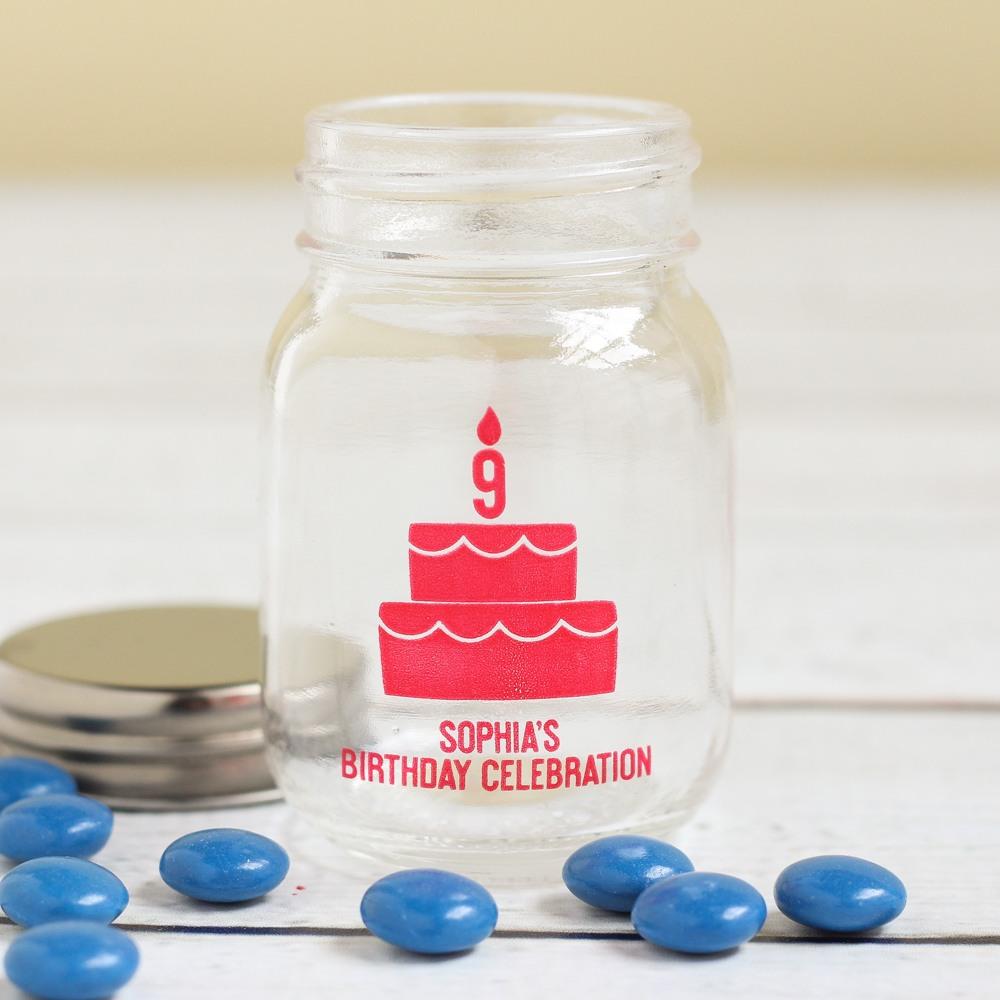 Personalized Birthday Cake Mini Mason Jars