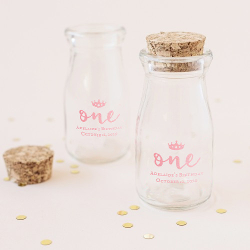 Personalized Printed Birthday Vintage Milk Jars