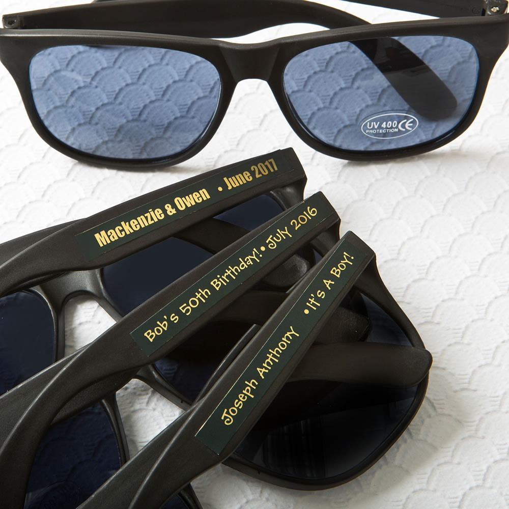 Personalized Black Sunglasses with Metallic Labels