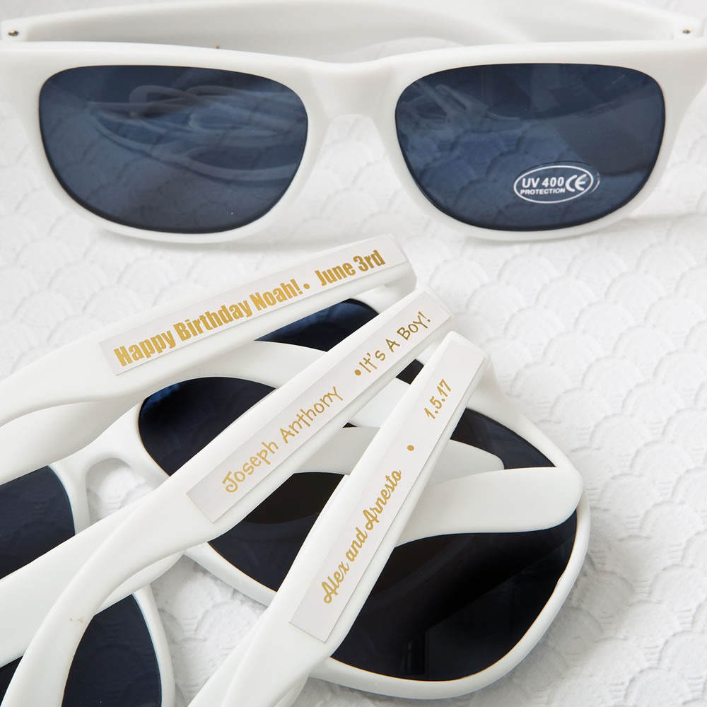 Personalized White Sunglasses with Metallic Labels