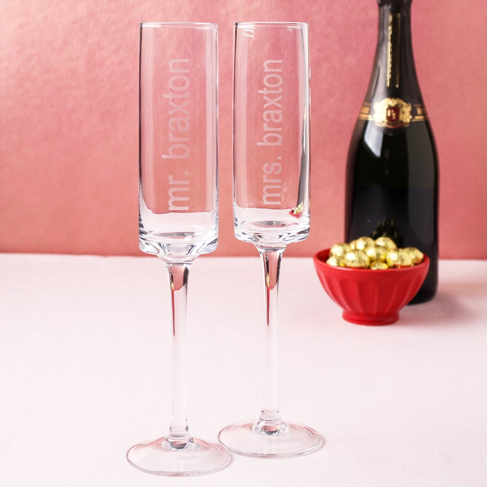 Personalized Contemporary Champagne Flutes 7730