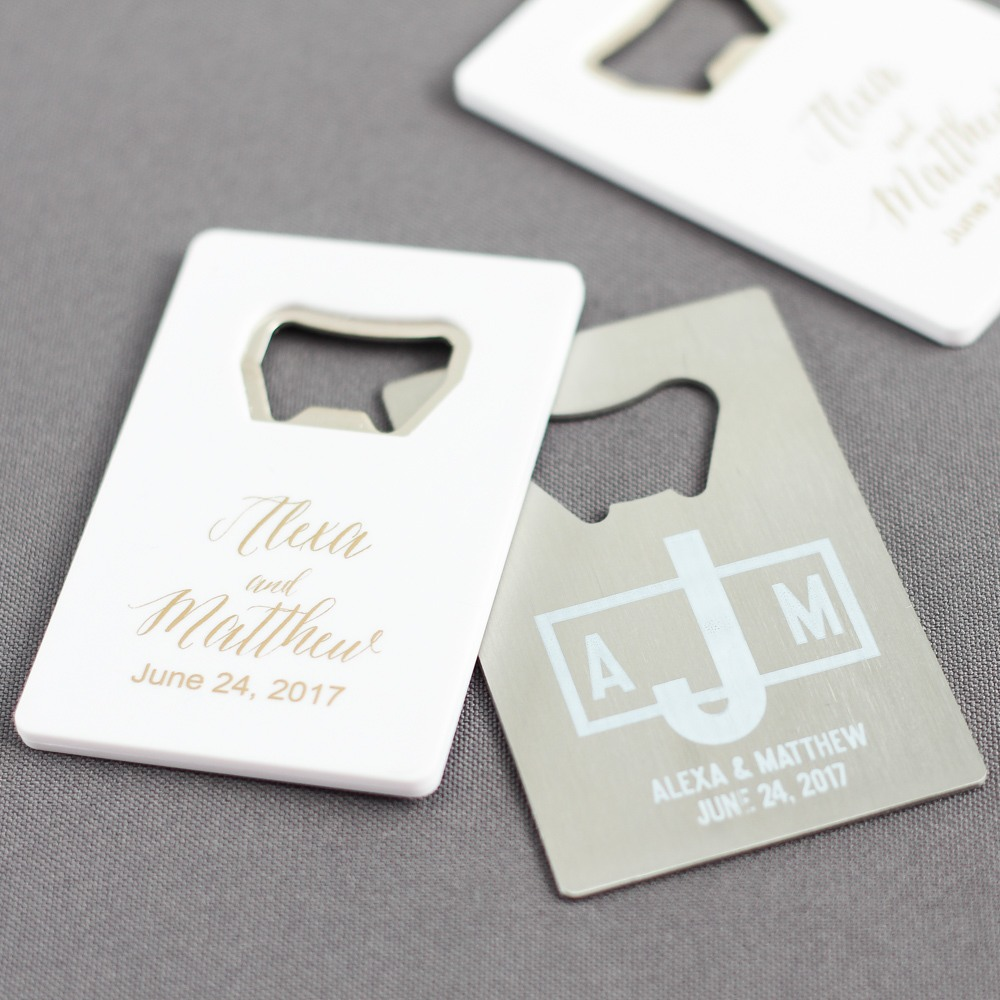 Personalized Wedding Credit Card Bottle Opener Favors