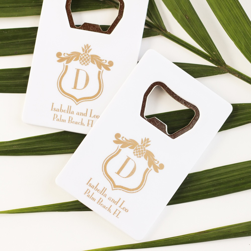 Personalized Tropical Credit Card Bottle Opener Favors