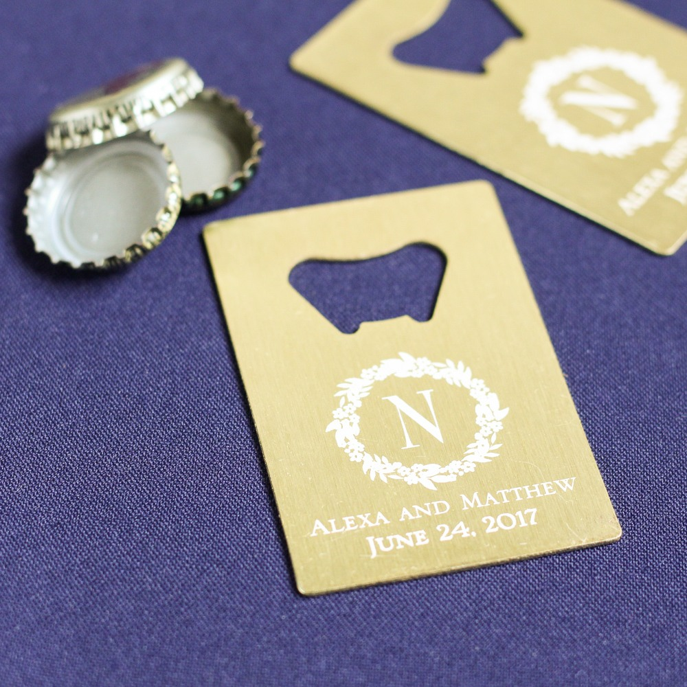 Personalized Modern Luxe Credit Card Bottle Opener Favors