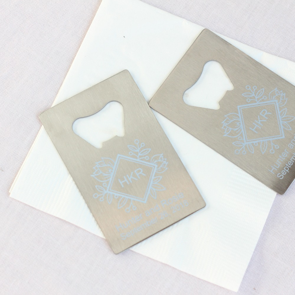 Personalized Floral Diamond Credit Card Bottle Opener Favors