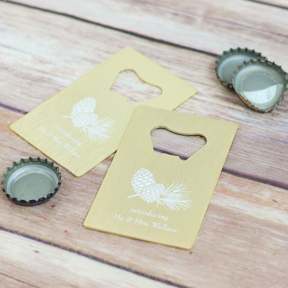 Personalized Pinecone Credit Card Bottle Opener Favors